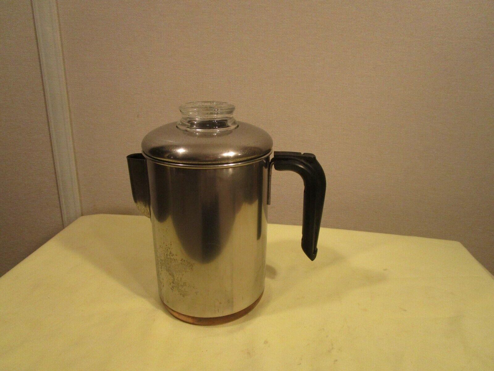 Vtg REVERE WARE 1801 Percolator Copper Clad Bottom 8 Cup sto