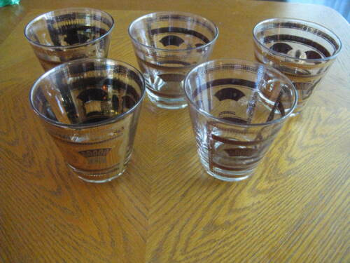 Set of 5 Culver Old Fashioned Glasses Gold Classical Motif