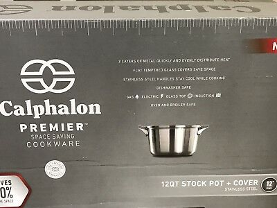 Calphalon Premier Space Saving Stainless Steel 12qt Stock Pot with Cover - NEW