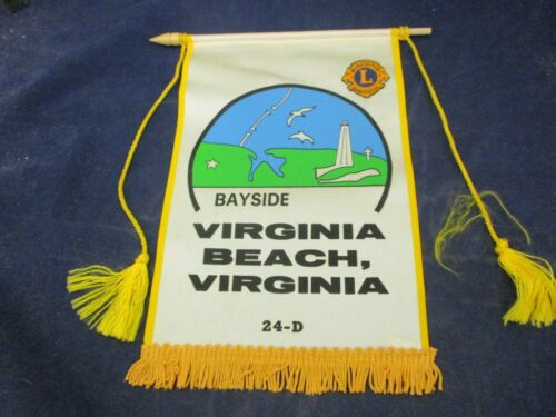 Vintage Lions Club Banner Flag Bayside Virginia Beach Virginia District 24 D