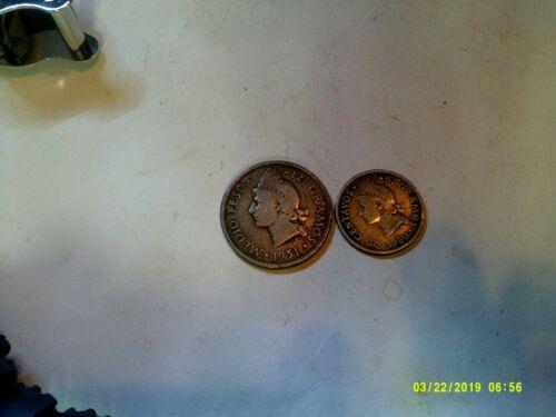 DOMINICA SILVER 1960 25 C & 1951 1/2 PESO