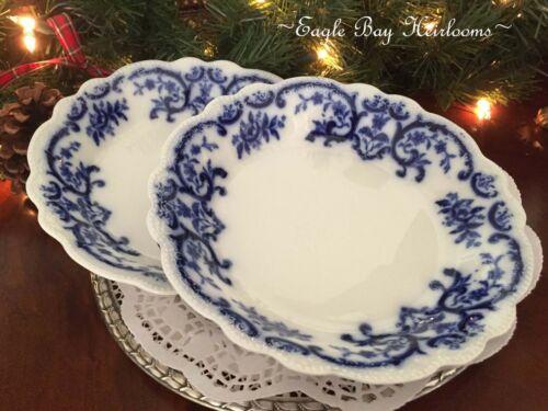 Set of 2 -W.H. Grindley Portman, Flow Blue, Porcelain Coupe Soup Bowls, c1891