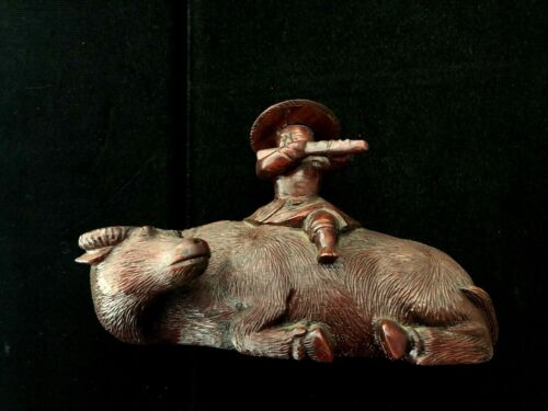 Vintage Chinese Hand Carved Rosewood Buffalo And Boy Sculpture