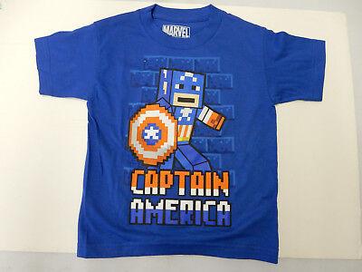 Marvel Kid Captain America 8 Bit Character Royal Blue Kids Youth Shirt S, M, L