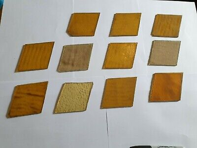 11 x pieces of old coloured glass spares/repair/craft