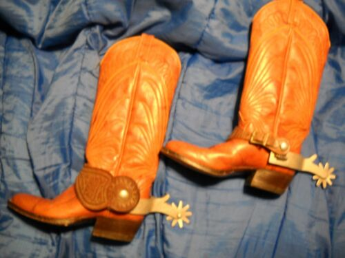 ~Crockett Embossed Spurs with Leather Tooled Straps Signed by Owner~