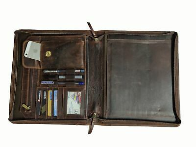 Zippered Leather Portfolio Executive Padfolio Organizer A4 Folder Case Holder