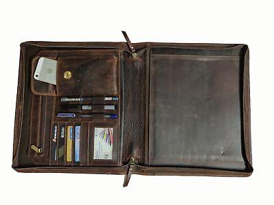 Zippered Leather Portfolio Executive Padfolio Organizer A4 Folder Case Holder