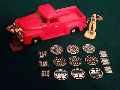 15 - HO Scale Manhole Sewer Covers Street Storm Drain Grates Adhesive Backed Adhesive Backed Scales