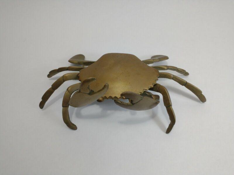 Vintage Brass Crab Trinket Dish Secret Hidey Hole Sea Crustacean Animal Figurine