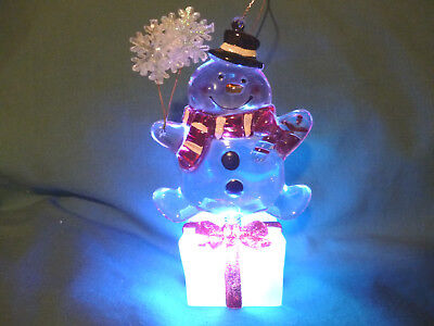 Hallmark Gift Bag Bouncing Snowman Snow Globe Ice Cube Gift Changes Color NEW