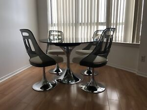 Retro 1970's Glass Table and Chairs-Authentic