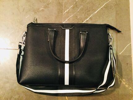BALLY  Men's black calf skin leather business bag/laptop bag