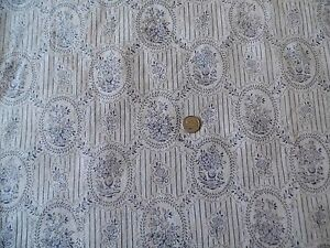 Vintage French Lovely Doll Scale Linen Textile c. 1910~ Blues & Greys