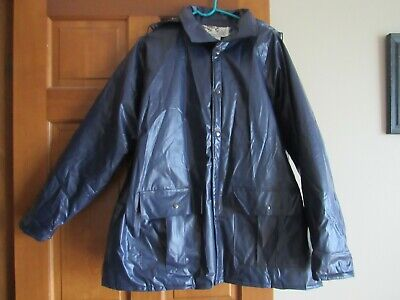 - Duck Bay Mens Vintage Hooded Rain Coat Flannel-Lined Waterproof Blue Size L