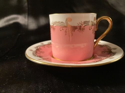 AYNSLEY DEMITASSE PINK AND GOLD CUP AND SAUCER