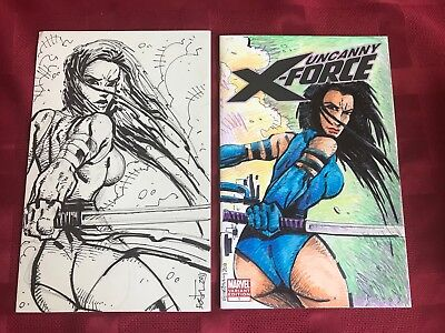 Psylocke X-Men Full Cover Original Sketch Cover Front and Back Kevin Eastman ()