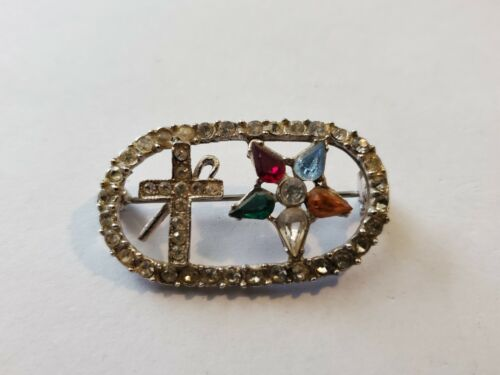 Vintage Color Crystal Jeweled Mason OES Star Cross Shepherds Hook Pin Brooch