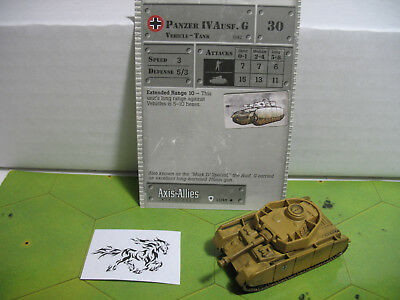 Axis & Allies Base Set Panzer IV Ausf. G with card 32/48 Axis Allies Base Set
