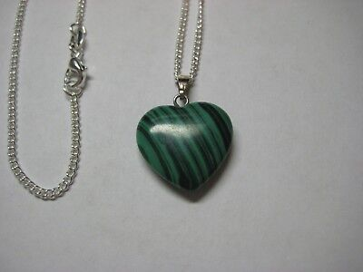 Heart Necklace with Malachite Gemstone & 925 Sterling Silver Chain 18 -