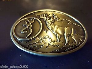 ✖ BROWNING Buck in woods ✖ Scenic Belt Buckle Buck ✖ Deer Bronze Buckmark
