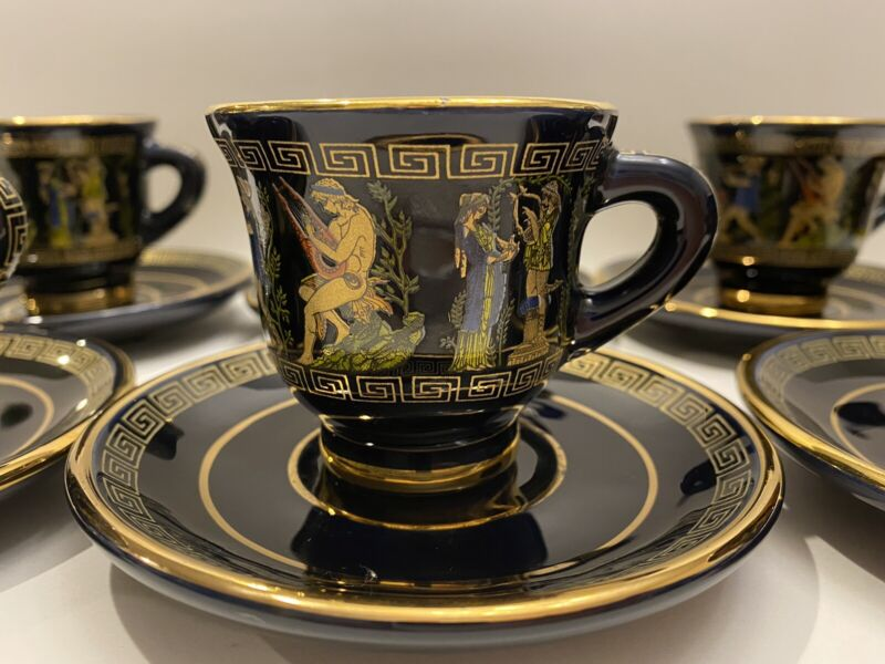 Adis Hand Made In Greece  tea cup set 12 piece Black With 24k Gold.