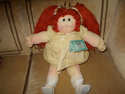 Cabbage Patch Soft Sculpture Little People Girl with Red Hair and Green Eyes.