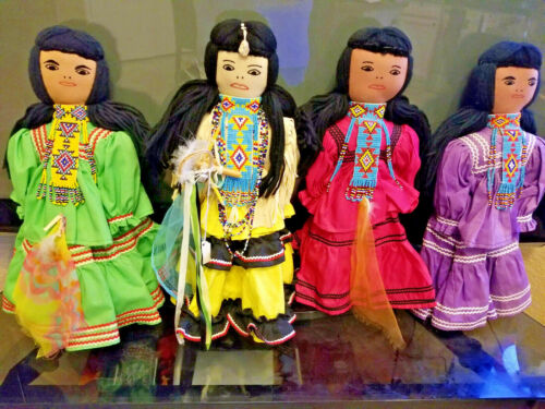 """VINTAGE APACHE INDIAN DOLLS  BEADED NECKLACES 16 1/2"""" ea tall 4 PIECE COMBO RARE"""