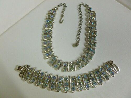 Vintage Signed BSK Silver Tone Blue AB Rhinestone Necklace & Bracelet