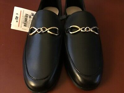 Zara Black Leather Loafers w/Gold Chains Womens Sz 6 Flats NWT