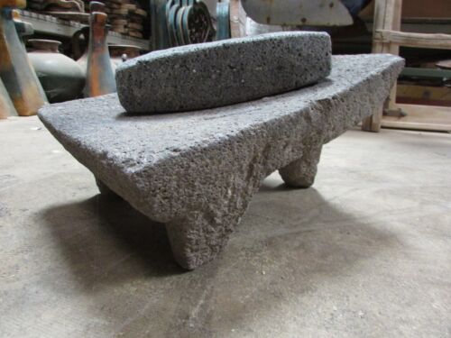 Antique Metate #17-Grinder-Rustic-Complete-Old Mexican--Primitive-11x14x8