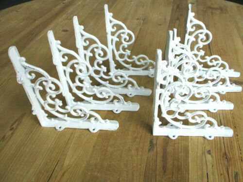 "8 Cast Iron Shelf Brackets New Antique Style White 6.5"" x 5.5"" Corbels Book Wall"