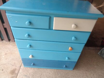 Large Blue TALL BOY Chest of 6 Drawers Bedroom Storage Cupboard