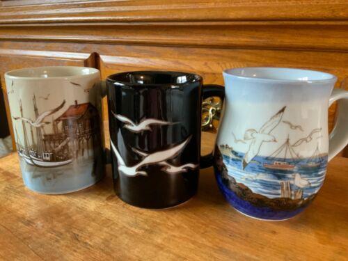 OTAGIRI Seagulls Ocean Nautical Coffee Mugs ~ SET OF 3