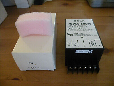 Sola Solids Power Supply 115vac In 5vdc 2a 2000ma Out 85-05-220