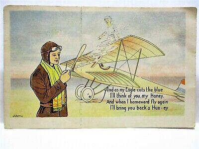 WWI YMCA POSTCARD SOLDIER PILOT & PLANE - I'LL BRING YOU BACK A HUN- EY