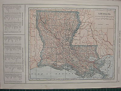 1926 MAP ~ LOUISIANA STATE PRINCIPAL CITIES COUNTIES NEW ORLEANS MONROE JACKSON
