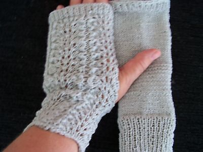 Hand knitted lace pattern fingerless gloves, silvery Lace Glove Pattern