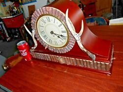 Mantel Clock Big Sky Carvers Montana Lodge Woodsman Deer Antlers CHIMES