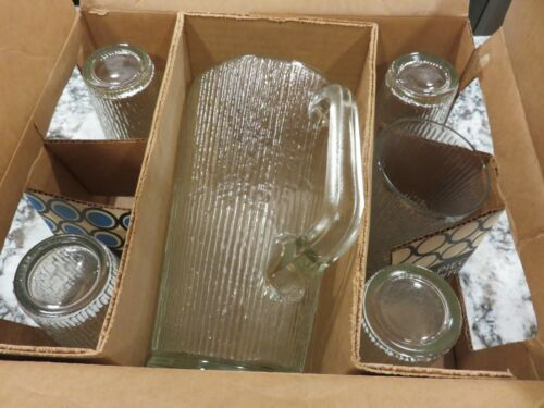 VTG Jeannette Glass Finlandia Arctic Ice Tree Bark Clear Pitcher & 5 Tumblers EX