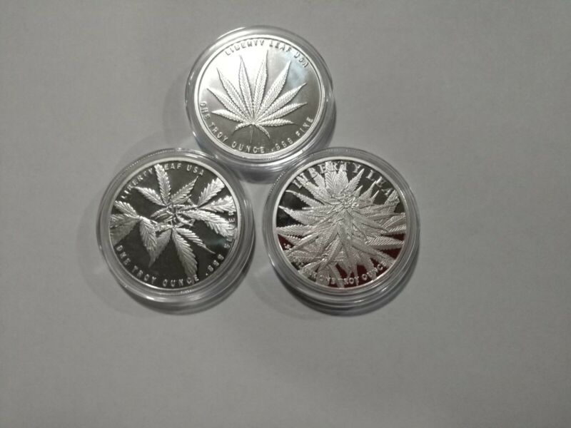 3 Beautiful 1 troy oz pure .999 silver proof-like marijuana leaf rounds