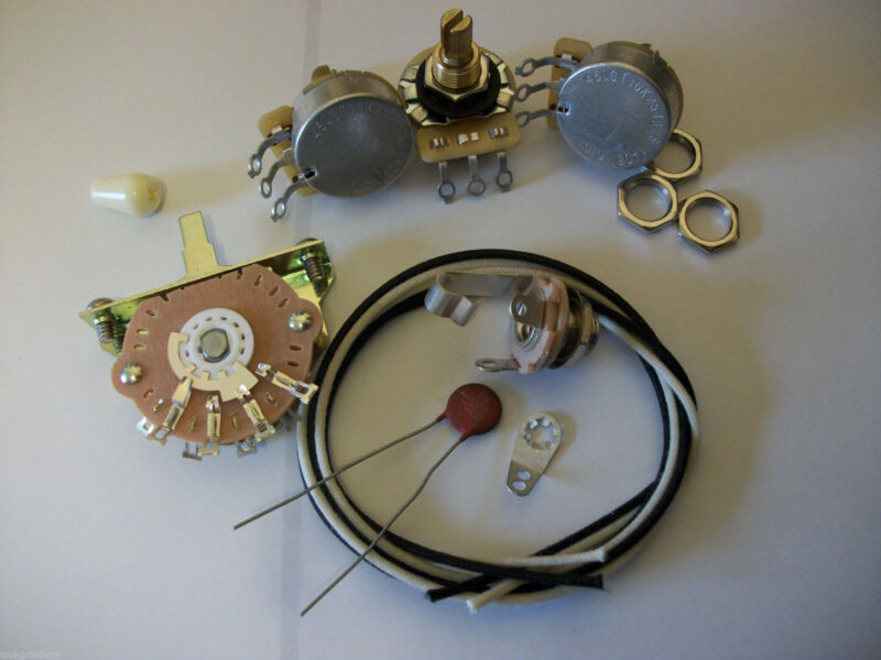 Wiring Harness Kit For Strat CTS Oak Switchcraft .05uf Erie Ceramic Cap 1960
