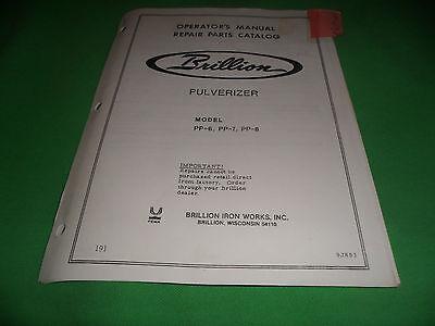 Drawer 16 Brillion Pulverizer Pp-6 Pp-7 Pp-8 Oper. Manual Repair Parts Catalog