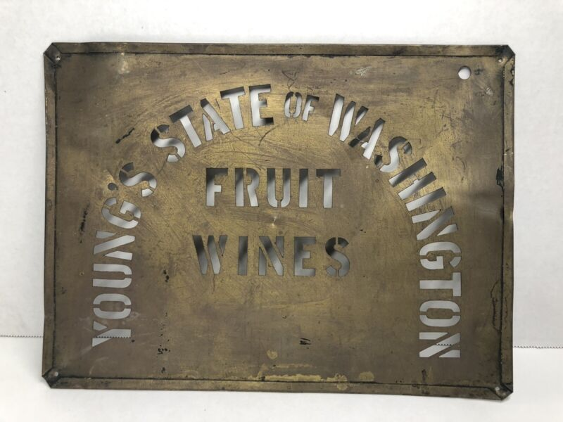 Antique Brass YOUNG'S WASHINGTON FRUIT WINES Stencil Sign (E1)