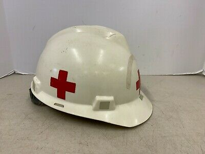 Vintage V Gard Msa Hard Hat American Red Cross Mine Safety