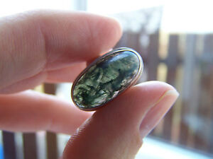 GORGEOUS & VERY RARE VINTAGE STERLING SILVER MOSS AGATE RING SIZE L FREE P&P