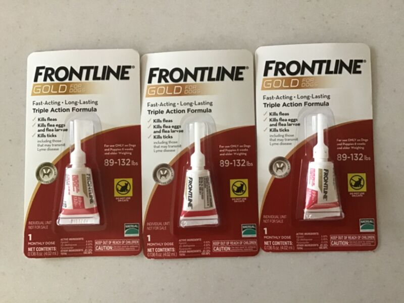 Frontline Gold for Dogs 89-132lbs, Three single doses flea tick. 3 single doses