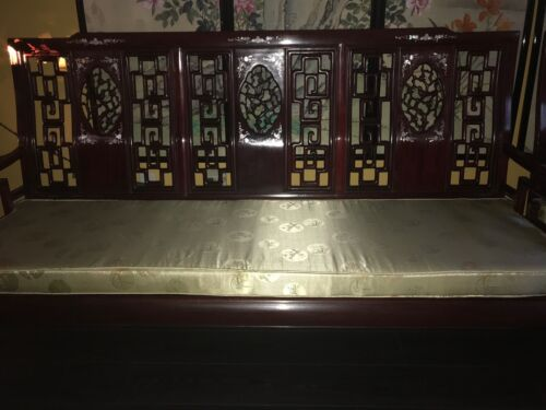 Asian Carved Mother-of-Pearl Inlay Rosewood Couch