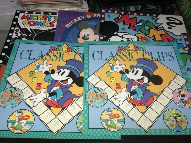VTG Walt Disney Mickey Friends Comics Pictures Wall Calendar Lot 90s 2000 Used