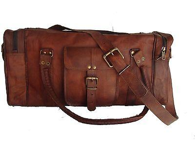 "24"" Genuine Brown Leather Large Vintage Duffle Travel Gym Weekend Squre Bag New"